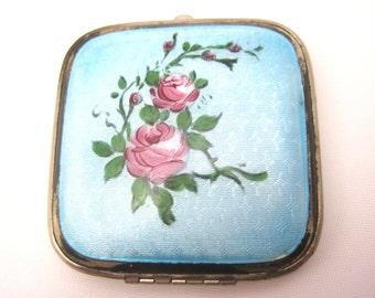 Vintage Enamel Compact - Blue Guilloche Enamel