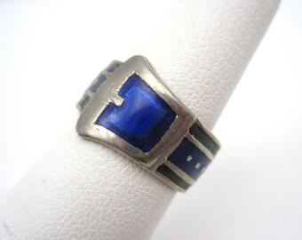 Vintage Buckle Ring - Blue Green Enamel Art Deco Jewelry