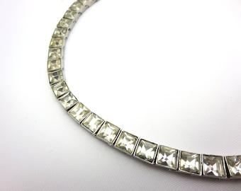 Vintage Rhinestone Collar Necklace - Art Deco Style Clear Rhinestones