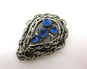 Vintage Dress Clip - Blue Glass Acorns