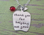 thank you for helping me grow hand stamped teacher necklace