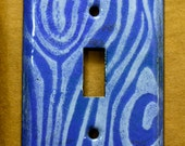 Free Shipping! Ready to Ship! Brown and Orange Woodgrain Handmade Enameled Light Switch Plate Cover Industrial Pop Art