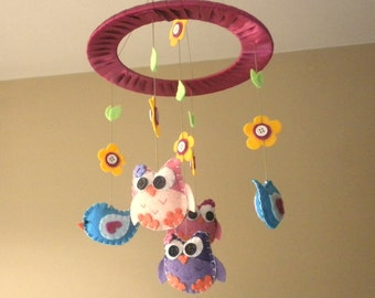 Baby Crib Mobile - Owls and Birds