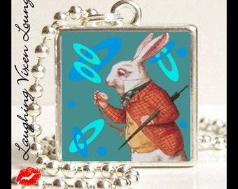 Alice In Wonderland Necklace - Alice In Wonderland Jewelry - Whit Rabbit Pop Art Small Pendant - Square Or Round - White Rabbit Jewelry
