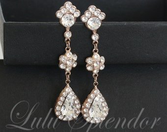 Rose Gold Bridal Earrings Crystal Wedding Earrings Swarovski Rhinestone Long Dangle GIANNA