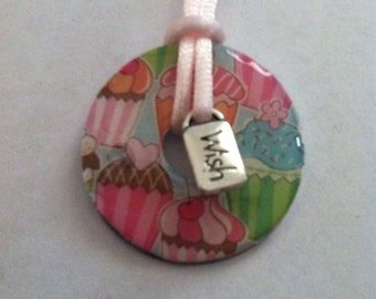 Happy Birthday Cupcake Washer Pendant Necklace with Wish Charm