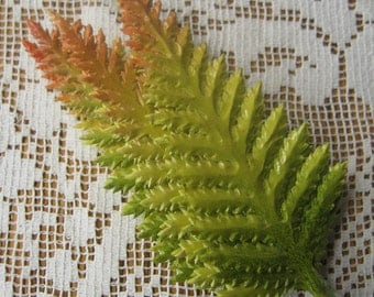 Millinery Paper Leaves Czech Republic 8 Embossed Green Ombre Fern Fronds Leaves