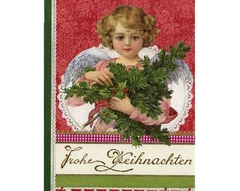Christmas Card Made In Germany Glittered With DIY German Dresden Trim