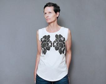 Modern Bloom Women's T shirt Top - Women's Graphic Cap Sleeve T shirt with Flower Print