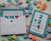 Math Flashcard Valentine's Day Card Class Valentines Set of 16