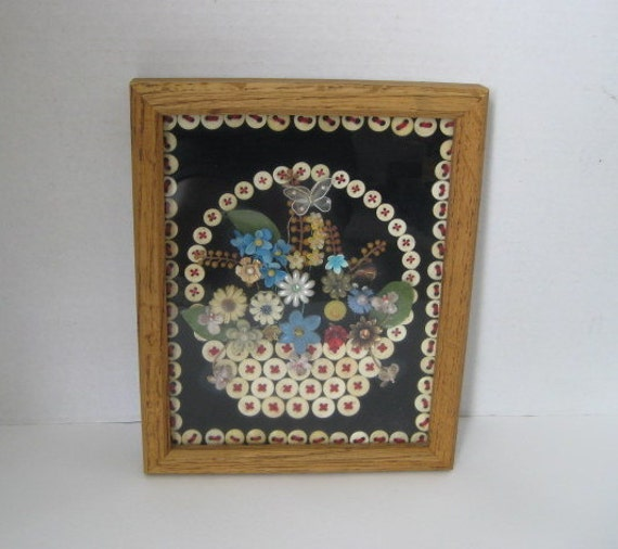 Vintage Button Wall Decor : Vintage button wall art hanging framed bone buttons