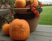 Fall Pumpkin Decal - Give Thanks - Vinyl Wall Decal Thanksgiving Decor