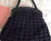 Vintage Navy Blue Crocheted Handbag with DecorativeTop Closure
