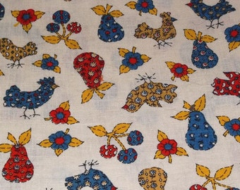 70s Vintage ROOSTER ,FRUITS, FLOWERS, Cotton Fabric, Sewing,Crafts, 2 Yards