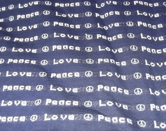 70s Hippie Cool Vintage LOVE, PEACE Fabric,Over 2 Yards, Boho, Woodstock, Groovy