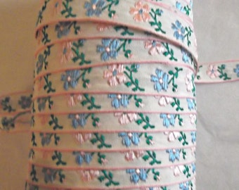 70s Vintage Pink and Blue Flowers EMBROIDERED Ribbon, Trim, 3 Yards