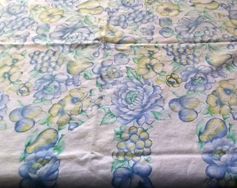 Vintage 60s Blues,Yellow Tablecloth, Fruits and Flowers, Fabric