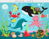 Under the ocean - sea clip art, fish, seaweed, dolphin, whale, jellyfish, starfish, shell, coral, octopus, treasure chest pearl turtle, crab