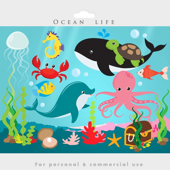 Under The Ocean Sea Clip Art Fish Seaweed By