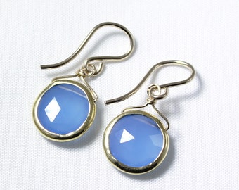 Blue Agate Chalcedony Gemstone Earrings 18k Gold Bezel BZ-E-105-Chal/g