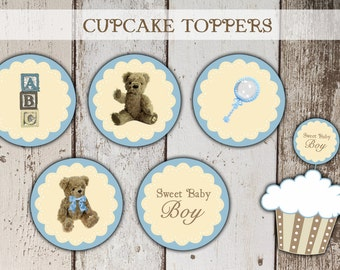 Teddy Bear Cupcake Toppers - Baby Shower  - Old Fashioned - Vintage Bear