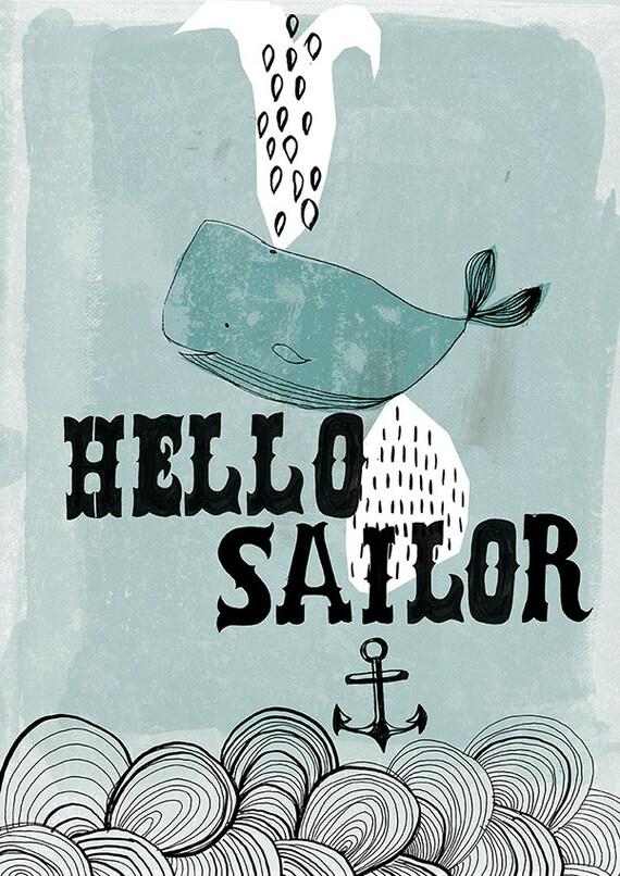 Hello Sailor archival Wall art print - kids decor blue