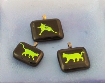 Dichroic Cat jewelry - dichroic jewelry - Cat Necklace - Kitty pendant - pussy cat  (3496-7-8)