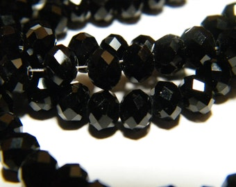 17 to18 inch strand black faceted glass rondelles, beads, 6mmx4mm