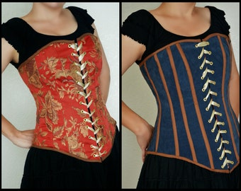 Steel Boned Reversible Red and Gold Upholstery Fabric and Blue Grey Ultra Suede Renaissance Corset Bodice