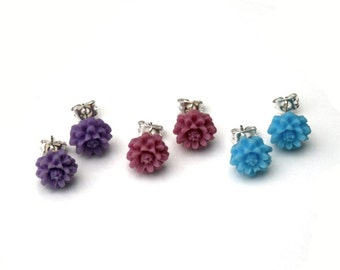 Spring Flower Earrings, Blue / Purple Flower Stud Earrings, Set Of Three