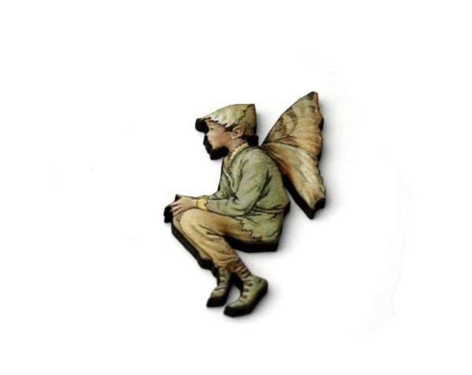 Green Fairy Brooch, Faerie Illustration Brooch, Pixie Jewelry, Wood Brooch, Wood Jewelry