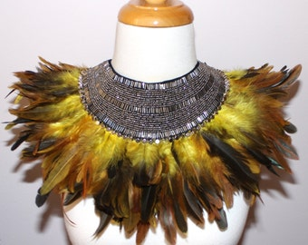 African jungle tribal fusion yellow brown ombre feathered neck corset shoulder collar wrap Necklace high fashion couture