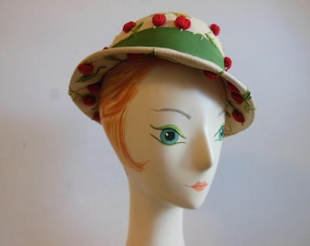 1950s hat /  Cherry Darling Vintage 50's Straw Embroidered Hat