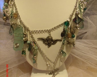 Victorian Romance  Seafoam Green and Silver Necklace