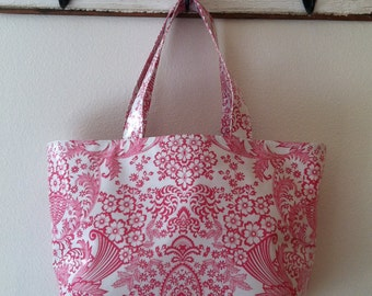 Beth's Pink Paradise Oilcloth Large Market Tote Bag