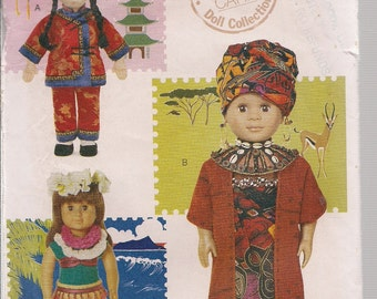 Vogue Craft 7297 Vogue International Doll Collection Pattern  China, Hawaii, Africa -Doll Clothing, Costumes