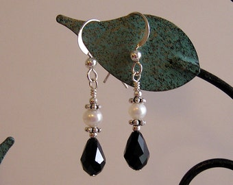 Elegant Black Swarovski Drop White Pearl Earrings