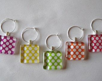 Pretty Polka Dot Glass Tile Wine Charms Set of 5