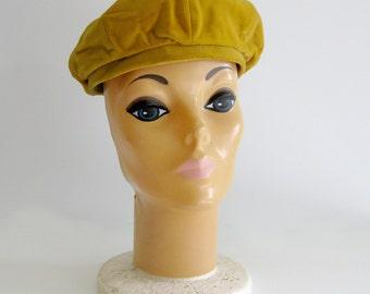 Vintage 1950s Womens Hat Gold Velvet Beret B Altman & Co The Hat Rack