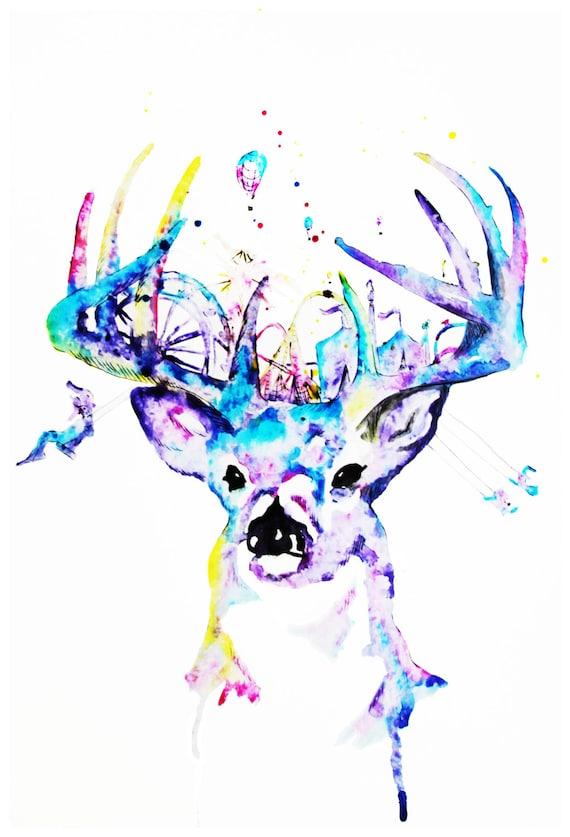 Whimsical Buck Deer Illustration  Print