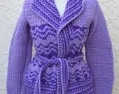 Hand Crochet Purple Vintage Sweater