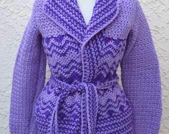 Hand Crochet Purple Vintage Sweater