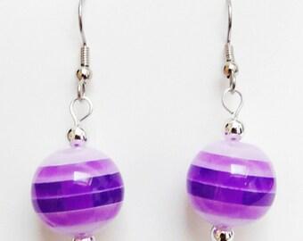 Purple Stripe Earrings Silver tone Beads Dangle Earrings Striped Purple Candy Drop Earrings