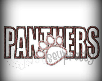 Panthers Paw Sillouette Embroidery Applique Design