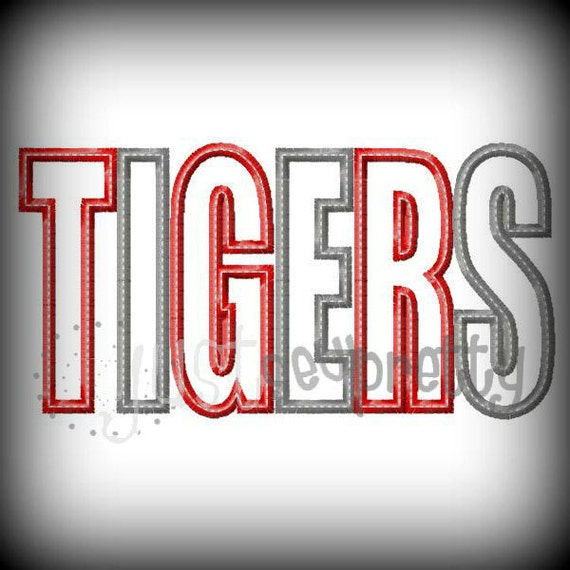 Tigers word embroidery applique design