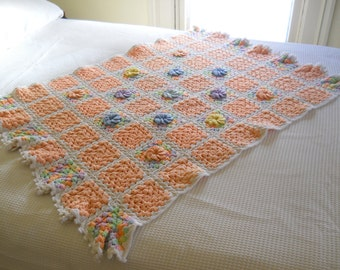 Vintage Baby Afghan • Dimensional Flowers • Peach and Pastels