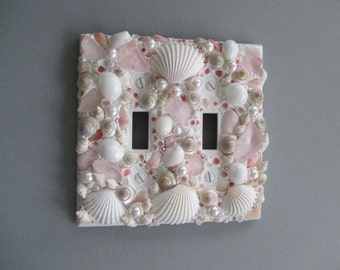 Seaglass and Seashell Light Switch Plate Cover - Single switchplate Pink / White / Pearl