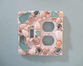 Seashell and Seaglass Combo Single Switch and Outlet Plate - Aqua Tan White