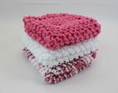 Knit Cotton Cloths Rose Pink and White  Cotton Wash Dish Cloths Set of 3