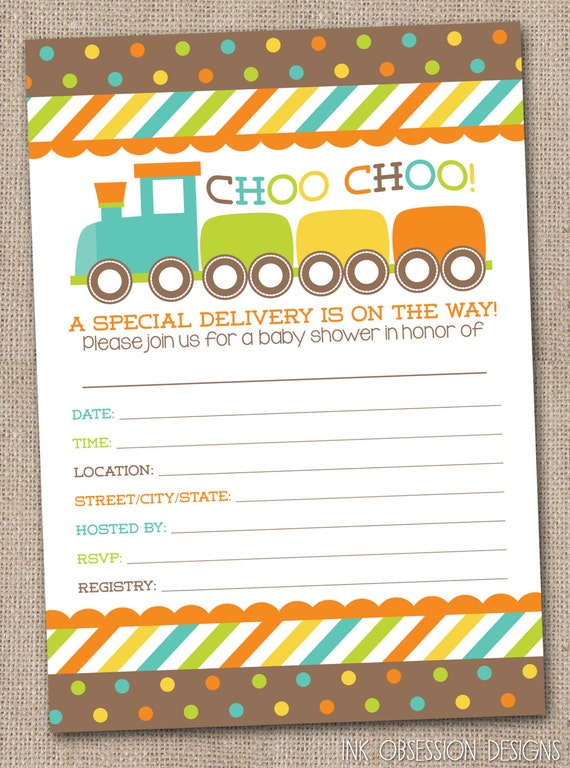 fill in baby shower invitations choo choo train boys printable baby